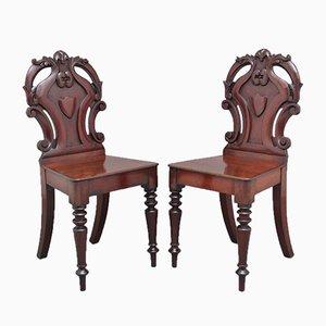 19th Century Mahogany Hall Chairs, Set of 2