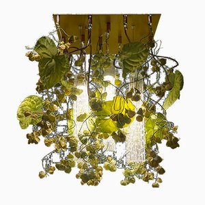 Flower Power Chandelier with Murano Glass and Artificial Anthurium & Physalis Flowers from VGnewtrend