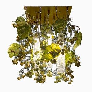 Lámpara de araña Flower Power de cristal de Murano con anturio artificial y flores de Physalis de VGnewtrend