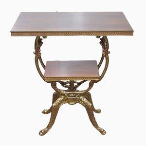 Tavolino girevole in bronzo e legno, anni '80