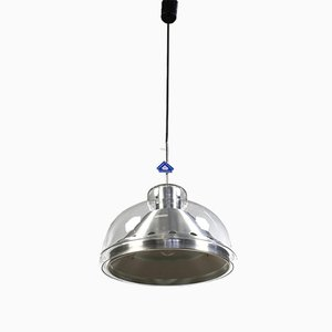 Vintage Aluminum and Glass Dome Pendant Lamp from Doria Leuchten
