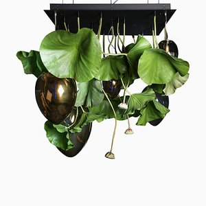 Glass Egg Ceiling Lamp with Artificial Lotus Plant from Vgnewtrend