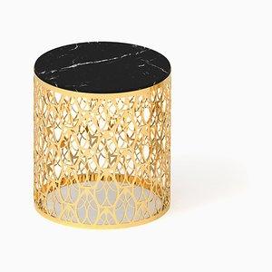 Arabischer Cabochon Couchtisch aus schwarzem Marmor & schwarzem Mahagoni von VGnewtrend