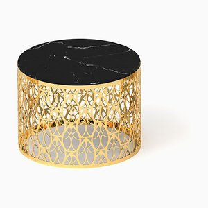 Marquina Black Marble & 24K Gold Arabesque Cabaret Coffee Table from VGnewtrend