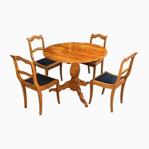 Antique Round Biedermeier Cherry Wood Table & 4 Biedermeier Chairs Set