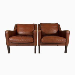 Vintage Buffalo Leather Lounge Chairs, 1960s, Set of 2