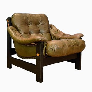 Mid-Century Swedish Brown Leather Lounge Chair, 1970s