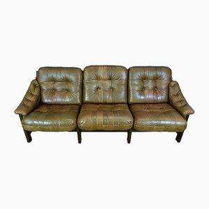 Sofá de tres plazas sueco Mid-Century de cuero marrón, años 70