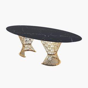 Gatsby Tisch mit schwarzer Platte aus Marquina-Marmor & arabeskem Gestell von VGnewtrend