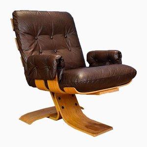 Mid-Century Norwegian Leather & Beech Lounge Chair, 1970s