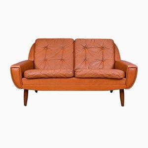Braunes dänisches Mid-Century 2-Sitzer Sofa aus gegerbtem Leder, 1960er