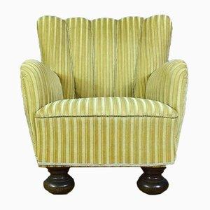 Dänischer Sessel mit goldenem Verloursbezug, 1940er