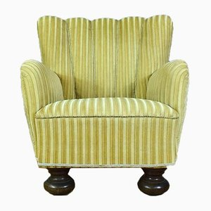 Danish Gold Velour Armchair, 1940s
