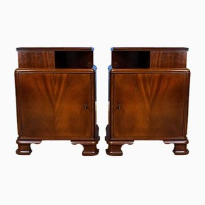 Art Deco Swedish Mahogany Lockable Bedside Cabinets, 1930s, Set of 2