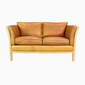 Mid-Century Danish Leather & Beech 2-Seater Sofa from Stouby, 1980s