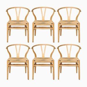Chaises Wishbone par Hans J. Wegner pour Carl Hansen & Søn, 2000s, Set de 6
