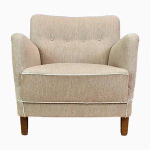 Dänischer Mid-Century Sessel mit grauem Wollbezug, 1950er