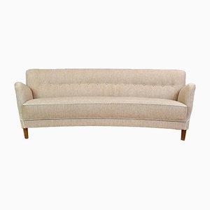 Mid-Century Danish Grey Wool 3-Seater Banana Sofa, 1950s