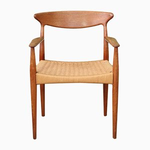 Dänischer Armlehnstuhl mit Flechtsitz von Arne Hovmand-Olsen für Mogens Kold, 1960er