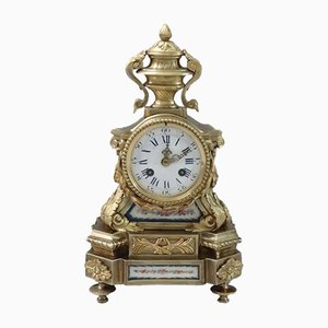 French Bronze Gilt and Porcelain Panelled Mantel Clock, 1860s