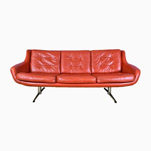 Vintage Red Leather Sofa with Metal Sleigh Base, 1960s