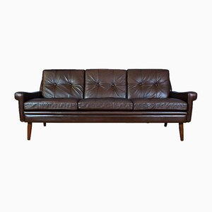 Mid-Century Brown Leather 3-Seat Sofa by Svend Skipper for Skipper, 1960s