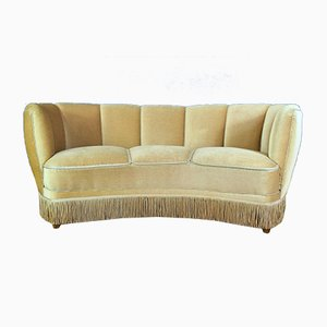 Vintage Art Deco Beige Velour 3-Seater Banana Sofa