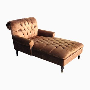 Large Mahogany Framed Brown Chaise Lounge, 1960s