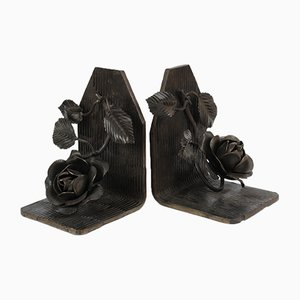 Vintage Handmade Wrought Iron Bookends, 1940s, Set of 2