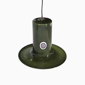 Lámpara colgante italiana cilíndrica de cristal de Murano verde de Mazzega, años 60
