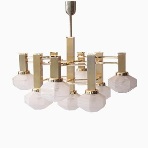 Mid-Century Polyhedral White Brass Suspension Lamp by Gaetano Sciolari, 1960s