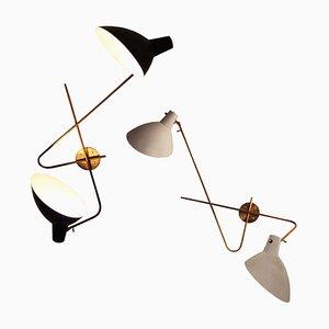 Moderne italienische Mid-Century Wandlampe aus Messing in Schwarz & Weiß, 1950er