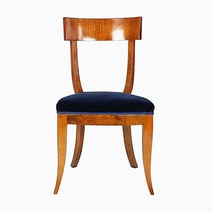 Italian Blue Velvet & Wood Side Chair, 1930s