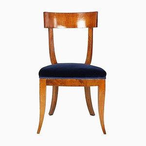 Sedia in legno e velluto blu, Italia, anni '30
