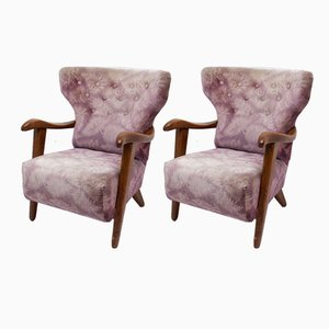 Mid-Century Wingback Armchairs from Krásná Jizba, 1950s, Set of 2