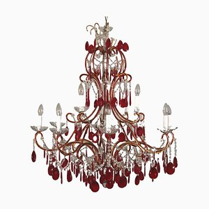 Antique Colored Glass Chandelier