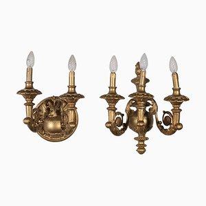 Applique antiche dorate, Italia, set di 2