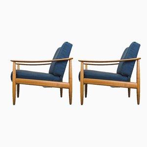 Mid-Century Sessel mit Gestell aus Buche von Walter Knoll, 1960er, 2er Set