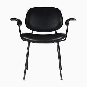 Italian Black Leather Office Chair, 1970s