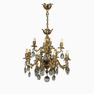 Antiker Kronleuchter aus Kristallglas & Bronze