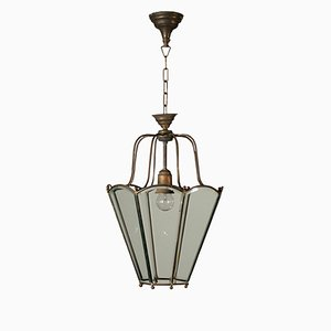 Antique Glass & Brass Pendant Lamp