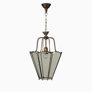 Lampe à Suspension Antique en Verre et en Laiton