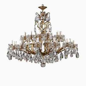 Antique Gilded Bronze & Crystal Chandelier