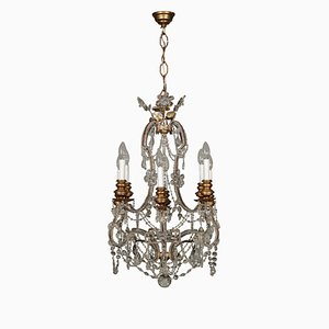 Lámpara de araña italiana antigua de madera dorada y vidrio