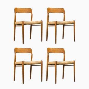 Sedie nr. 75 moderne in teak di Niels Otto Møller per J.L. Møllers, Scandinavia, anni '60, set di 4