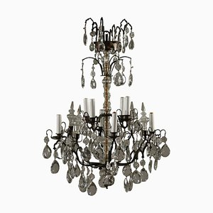 Antique Bronze & Crystal Chandelier