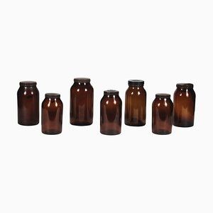 Amber Glass Jars with Hard Plastic Caps, 1960s, Set of 7