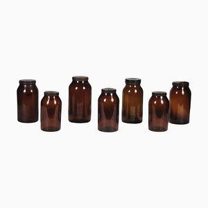 Pots en Verre Ambré avec Capsules en Plastique Dur, 1960s, Set de 7