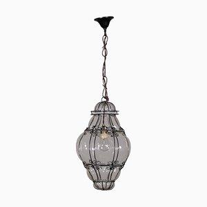 Antique Glass & Iron Ceiling Lantern