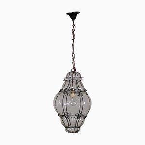 Lanterna da soffitto antica in vetro e ferro